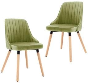 323055 vidaXL Cadeiras de jantar 2 pcs veludo verde-claro
