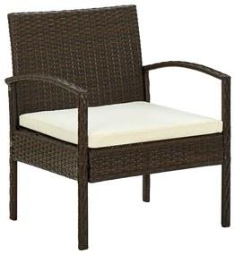 45794 vidaXL Cadeira de jardim com almofadão vime PE castanho