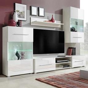 243863 vidaXL Armários de parede/unidade p/TV com luz LED, 5 pcs, branco