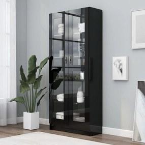 Armário vitrine 82,5x30,5x185,5cm contraplacado preto brilhante