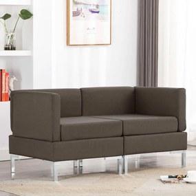 287049 vidaXL 2 pcs conjunto de sofás tecido cinzento-acastanhado