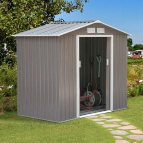 Outsunny Barracão de Jardim Armário Exterior de Metal para Guardar Ferramentas Base Incluída, 4 Janelas 213x130x185cm Aço