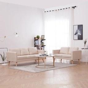 2 pcs conjunto de sofás tecido cor creme