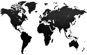 425851 MiMi Innovations Decoração parede mapa-múndi Luxury preto 130x78 cm