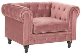 Poltrona em veludo rosa CHESTERFIELD