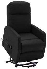 321366 vidaXL Poltrona reclinável elevatória couro artificial preto