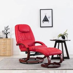 248706 vidaXL Cadeira reclinável c/ apoio pés couro artificial vermelho