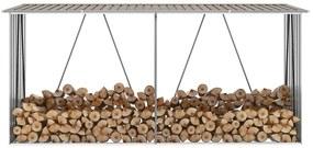 47084 vidaXL Abrigo jardim p/ arrumação de troncos aço 330x84x152cm castanho