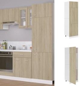 802541 vidaXL Armário p/ frigorífico 60x57x207 cm contraplacado cor carvalho