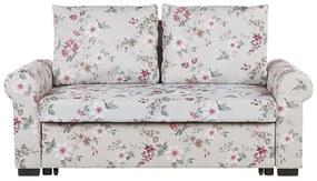 Sofá-cama de 2 lugares com padrão floral em cinzento claro SILDA