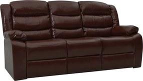 Sofá reclinável de 3 lugares couro artificial castanho
