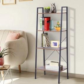 HOMCOM Prateleira de estante de escada industrial com 4 prateleiras escalonado 60x35x145cm aço e madeira