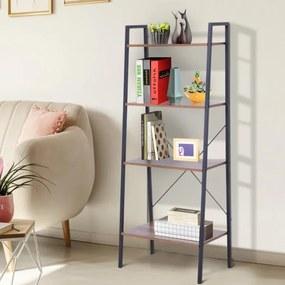 Prateleira de estante de escada industrial com 4 prateleiras escalonado 60x35x145cm aço e madeira