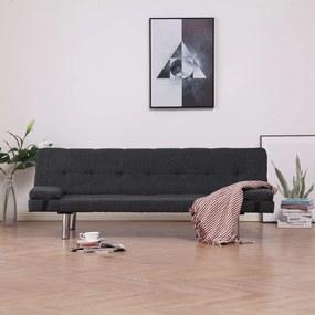 Sofá-cama com duas almofadas poliéster cinzento escuro