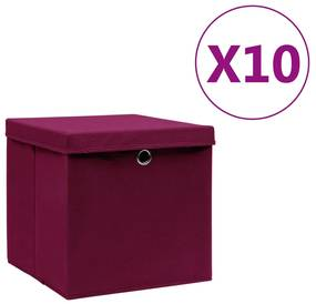 325202 vidaXL Caixas de arrumação c/ tampas 10 pcs 28x28x28cm vermelho-escuro