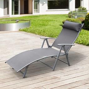 Outsunny Dobrável Espreguiçadeira Encosto Ajustável para 7 Níveis com Travesseiro Resistente ao Textilene Relaxar na Piscina Exterior Terraço Camping 137x63,5x100,5 cm Aço