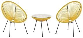 Conjunto de duas cadeiras e mesa em rattan sintético amarelo ACAPULCO II