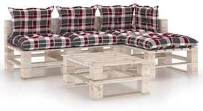3066261 vidaXL 5 pcs conj. lounge de paletes p/ jardim com almofadões pinho