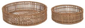 Kave Home - Set Coleen de 2 bandejas redondas 100% ratã com acabamento natural