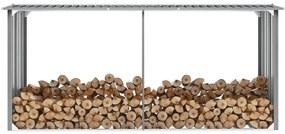 44860 vidaXL Abrigo jardim p/ arrumação de troncos aço 330x92x153cm cinzento