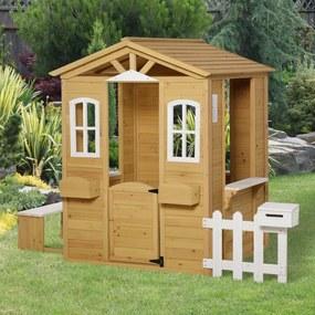 Outsunny para crianças a cima de 3 anos casa para brincar de madeira com caixa de correio banco 210x107x140 cm para exterior interior Cor madeira natural