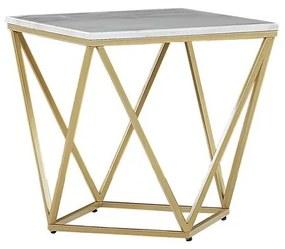 Mesa de apoio com efeito de mármore branco e pés dourados MALIBU