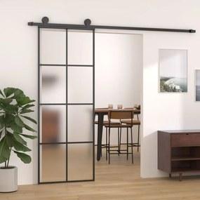 288064 vidaXL Porta de correr 76x205 cm alumínio e vidro ESG preto