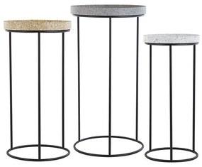 Conjunto de 3 mesas de apoio com efeito granito TEXON