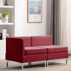 2 pcs conjunto de sofás tecido vermelho tinto