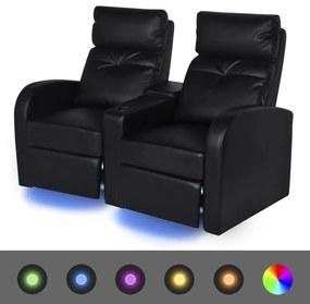 243598 vidaXL Poltrona reclinável LED 2 lugares, couro artificial, preto