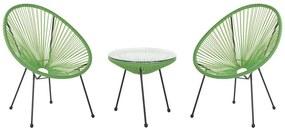 Conjunto de duas cadeiras e mesa em rattan sintético verde ACAPULCO II