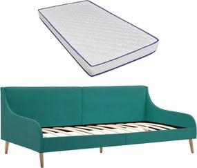 Sofá com colchão espuma de memória tecido verde