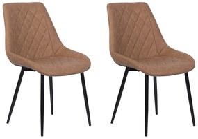 Conjunto de 2 cadeiras em pele sintética castanha MARIBEL