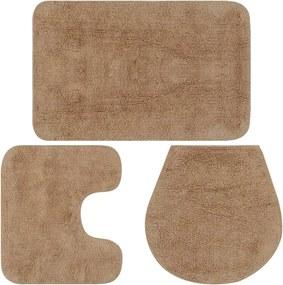 Conjunto tapetes de casa de banho 3 pcs tecido bege