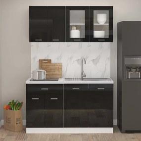 3067661 vidaXL 4 pcs conj. armários de cozinha contraplacado preto brilhante