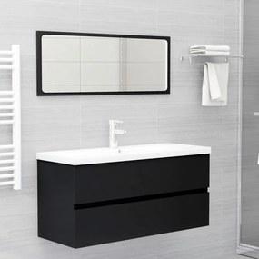 804900 vidaXL 2 pcs conjunto de móveis de casa de banho contraplacado preto