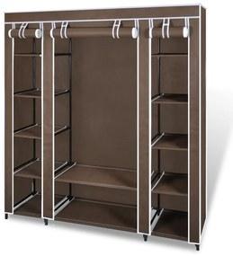 240496 vidaXL Armário tecido c/ compartimentos e varões 45x150x176cm castanho