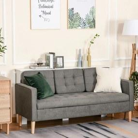 HOMCOM Sofá de 3 lugares acolchoado com 3 almofadas e apoios de braço Espaço de armazenamento Estilo moderno para sala de estar Quarto 166,5x62x82 cm cinza