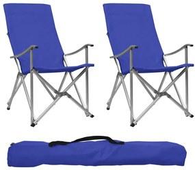 47907 vidaXL Cadeiras de campismo dobráveis 2 pcs azul