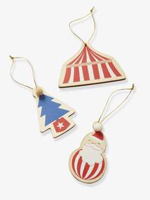 Lote de 3 decorações, Circus vermelho medio liso com motivo