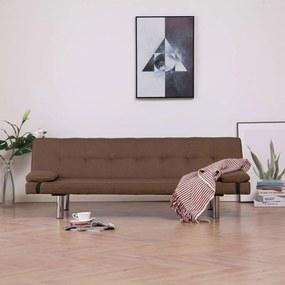 Sofá-cama com duas almofadas poliéster castanho