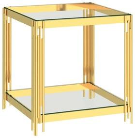 289028 vidaXL Mesa de centro 55x55x55 cm aço inoxidável dourado e vidro