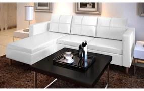 Sofá secional de 3 lugares couro artificial branco