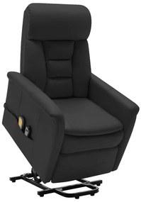 324014 vidaXL Poltrona massagens reclinável elevatória couro artificial preto