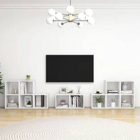 3080060 vidaXL 8 pcs conjunto de móveis para TV contraplacado branco