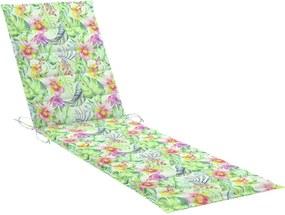 Almofadão p/ espreguiçadeira 200x50x4cm tecido padrão de folhas