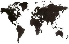 425854 MiMi Innovations Decoração parede mapa-múndi Luxury preto 180x108 cm