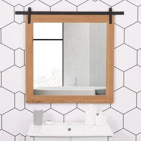 HOMCOM Espelho de banheiro montado na parede com desenho de porta deslizante de celeiro 84x2x74 cm Madeira e preto
