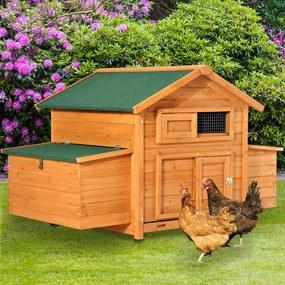 PawHut Grande galinheiro de madeira de abeto com bandeja removível para 2-4 galinhas Resistente às intempéries com 2 ninhos com Teto dobrável 150x100x96,5cm