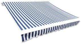143700 vidaXL Lona para toldo azul e branco 450x300 cm